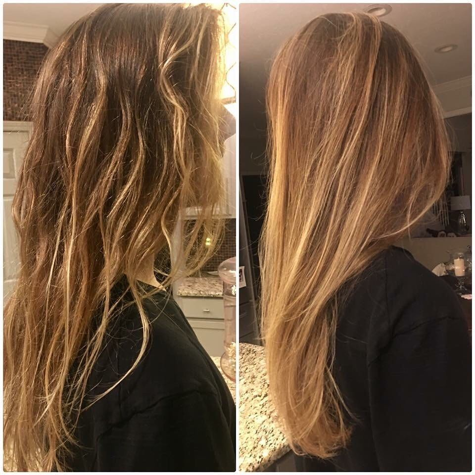 Long Blonde greasy hair before after