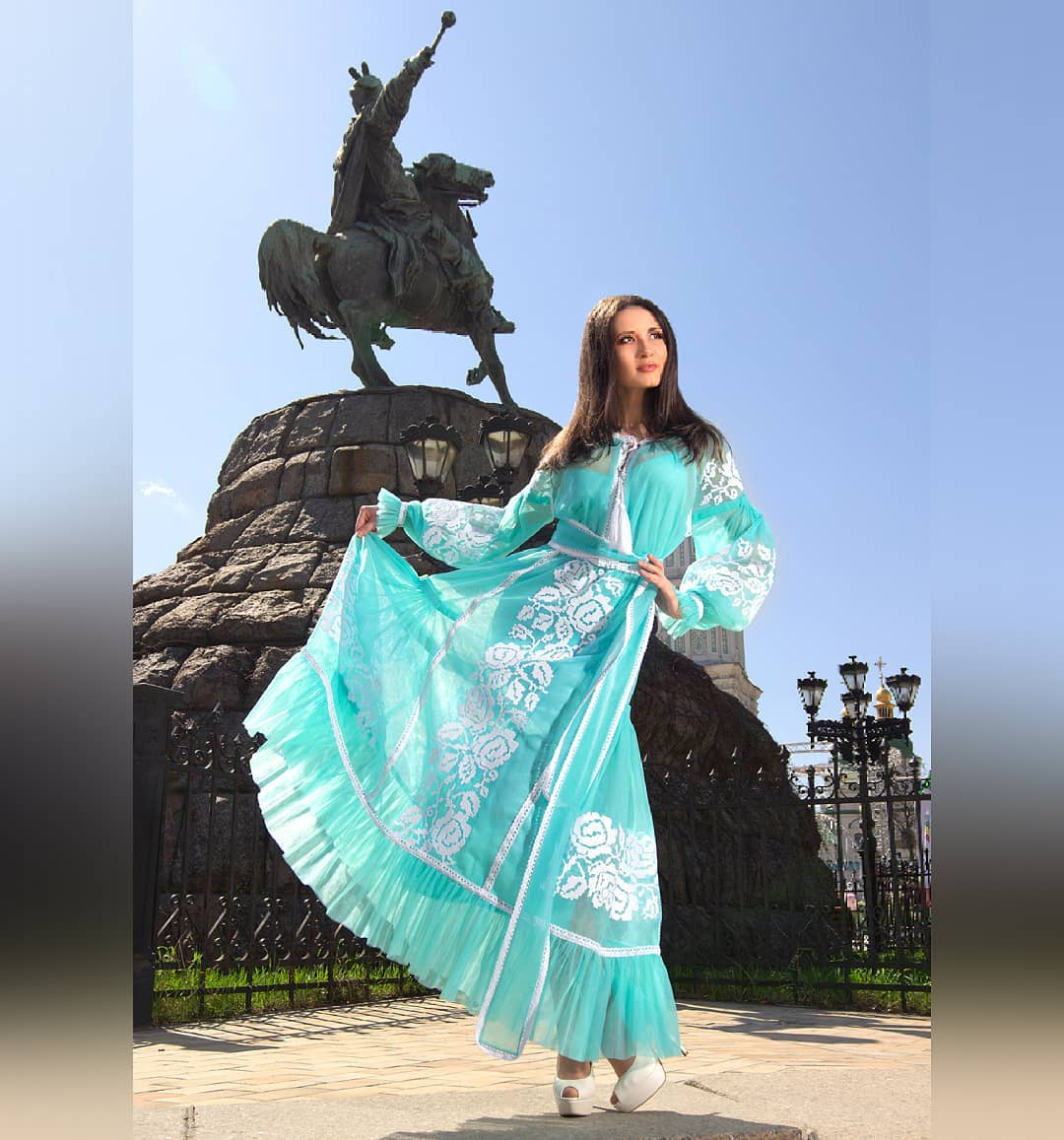 Long turquoise dress for spring
