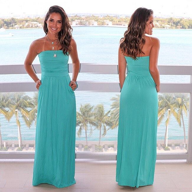 Summer long turquoise dresses model