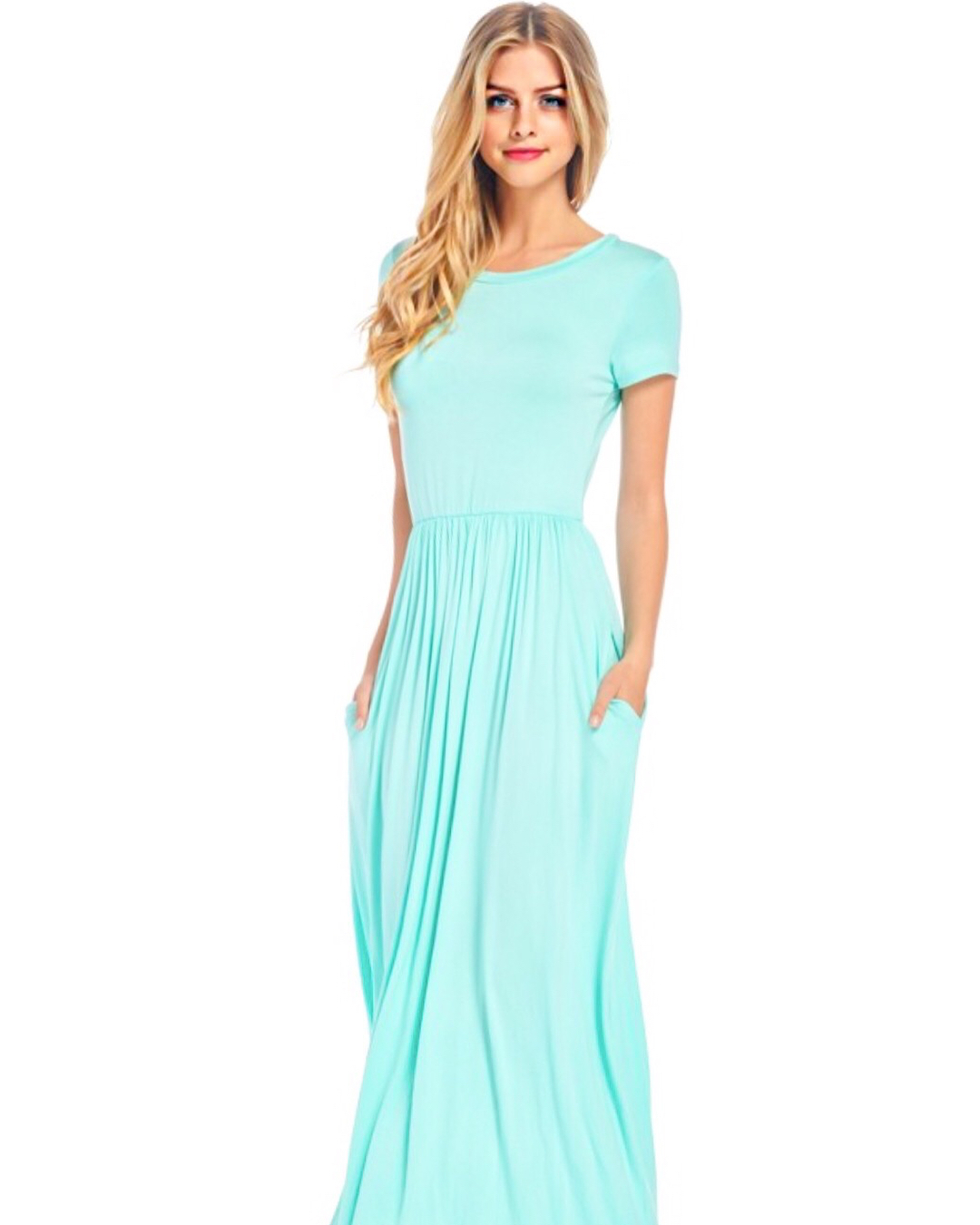 Long turquoise dress with pockets