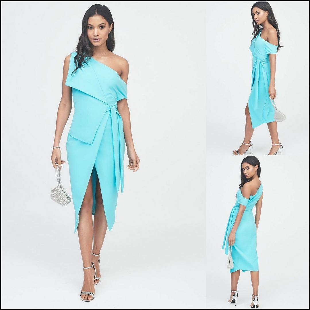 Deep slit turquoise evening dresses