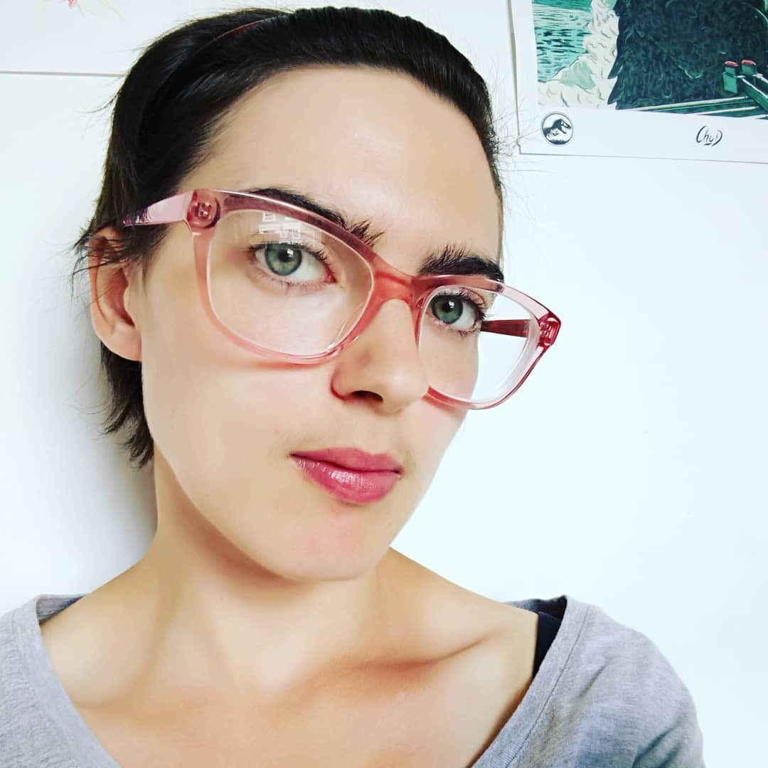 Very Short Hair With Red Glasses