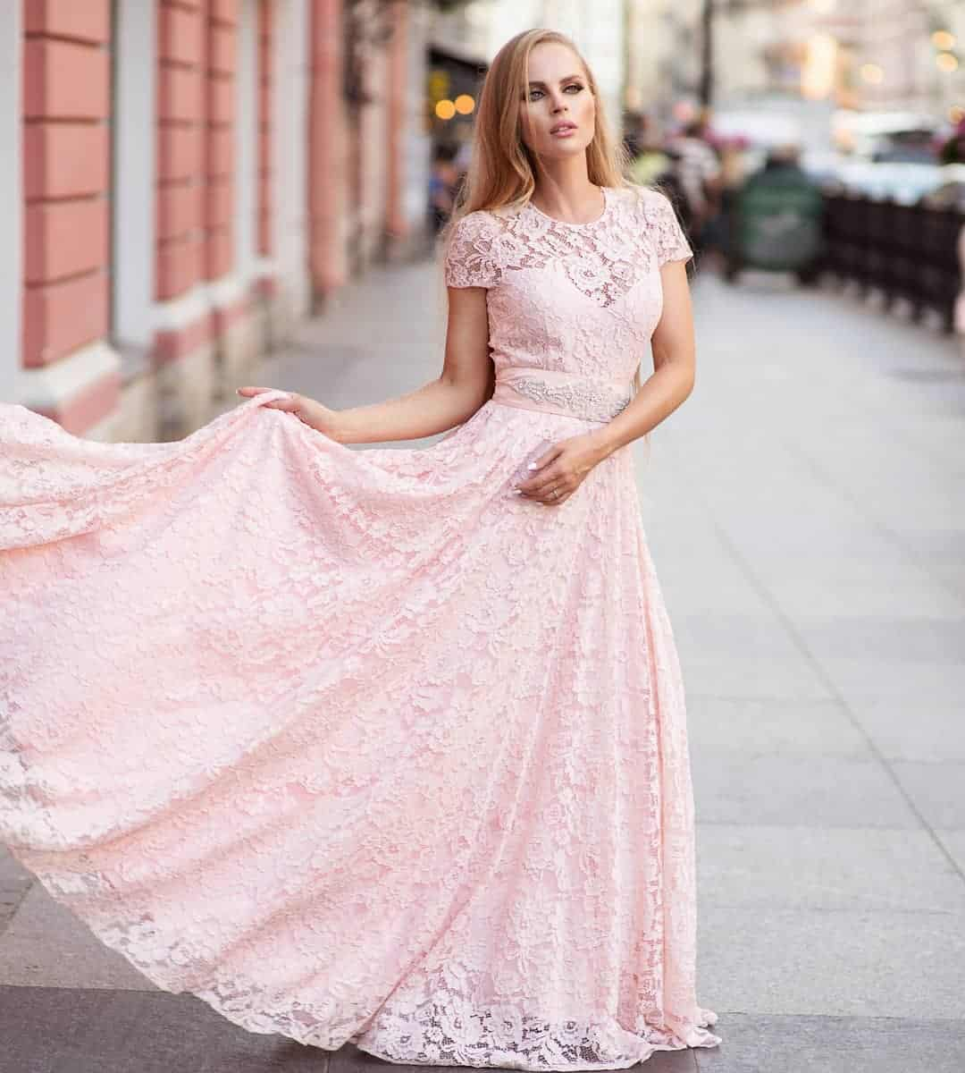 full lace, light pink prom dresses