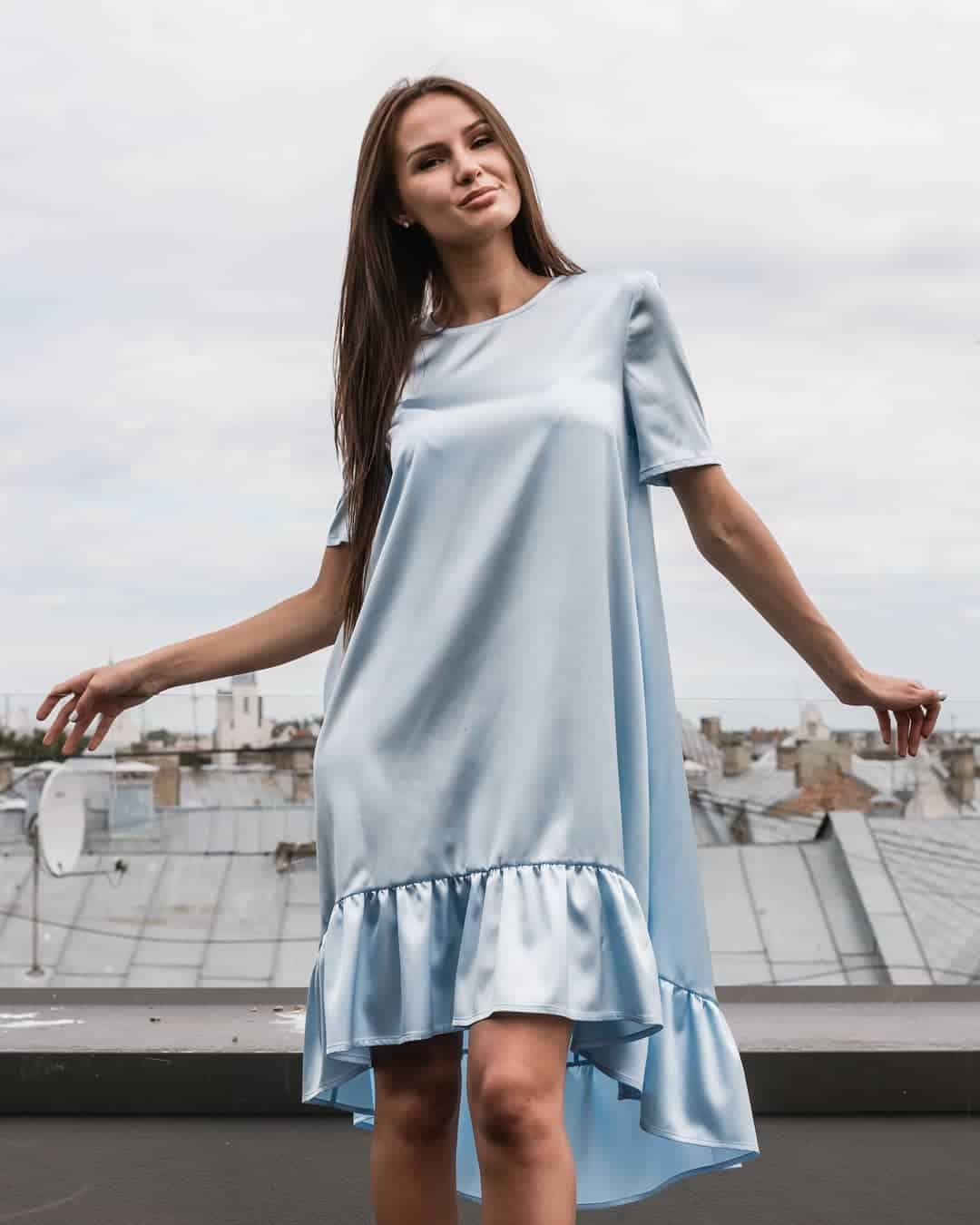 Blue satin summer dresses