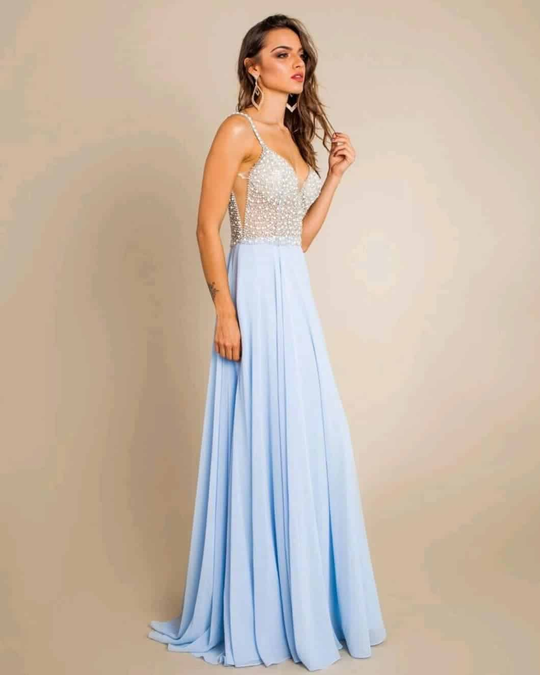 Blue glowing, Long prom dresses