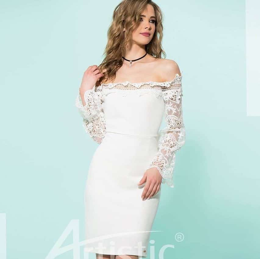 Lacy white evening dresses