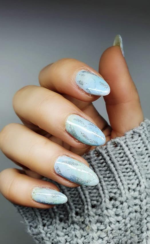 Blue and glitter summer nails design ideas