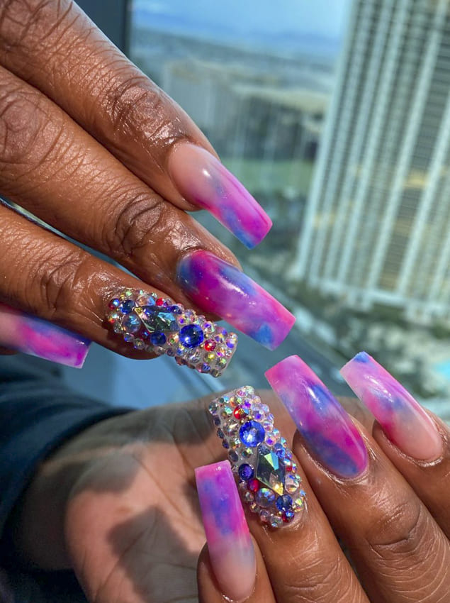 Dark pink, purple with diamond summer nails design ideas