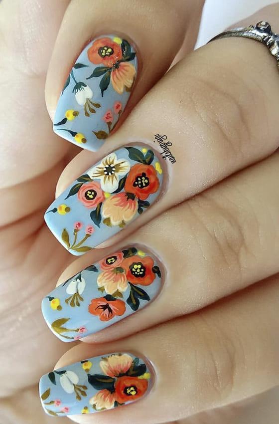 Floral short summer nails design ideas