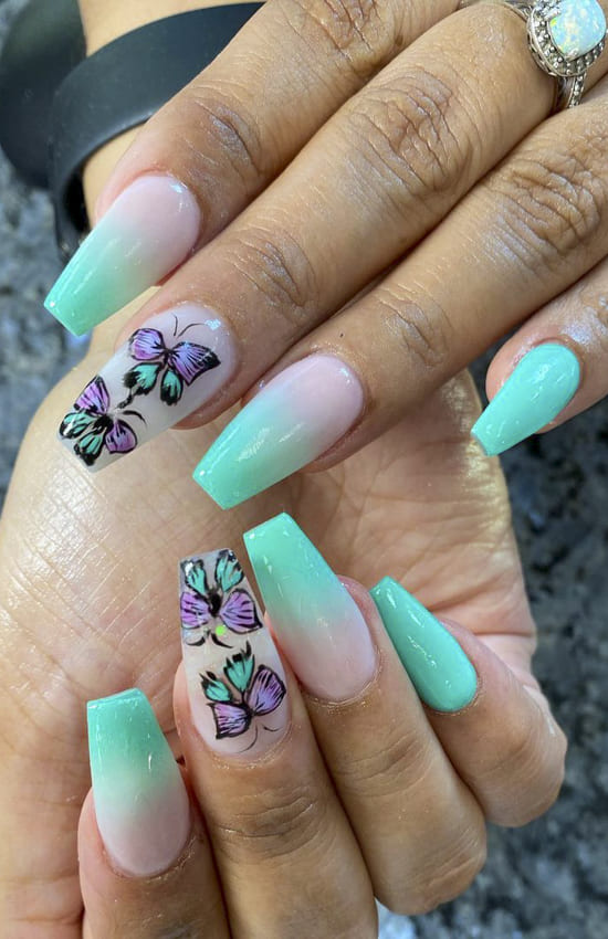 Green with butterfly summer nails with butterfly coffin