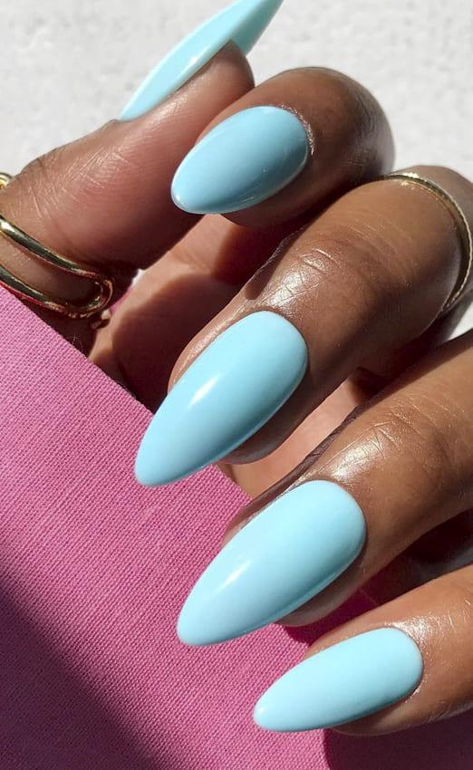 Light blue acrylic summer nails design ideas