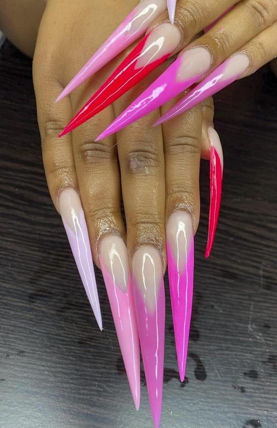 Long Stiletto summer nails design ideas
