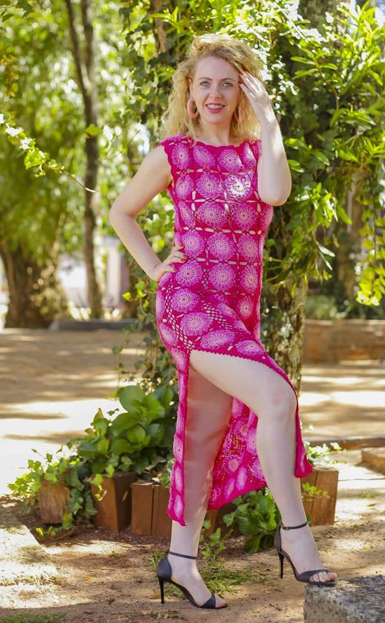 Pink color granny square crochet dress