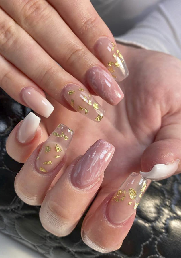 Clear acrylic nails Designs