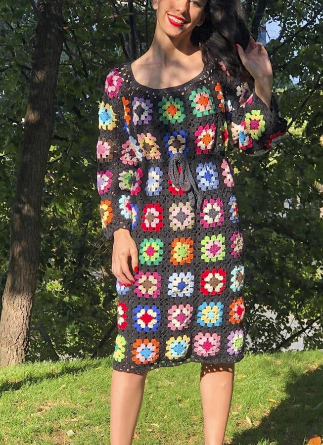 crochet granny square dress (2)