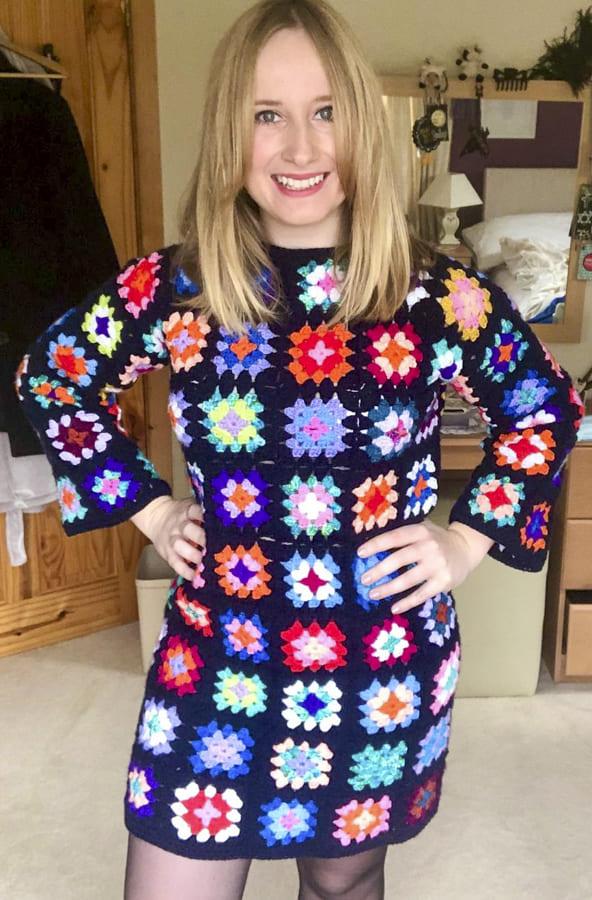 crochet granny square dress free patterns