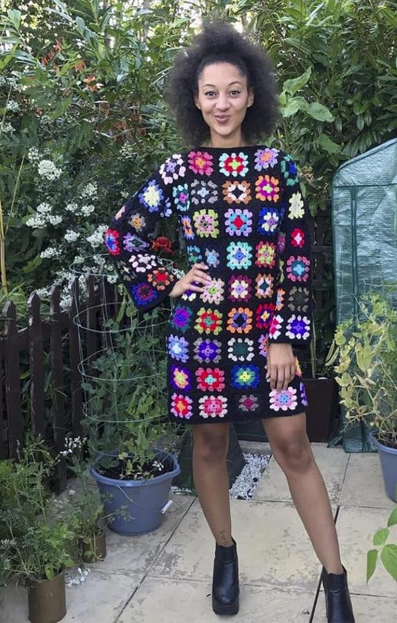 granny square crochet dress for winter