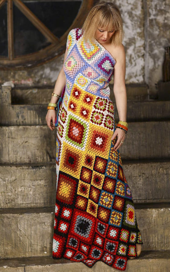 granny square dress with sunflowers+yellow