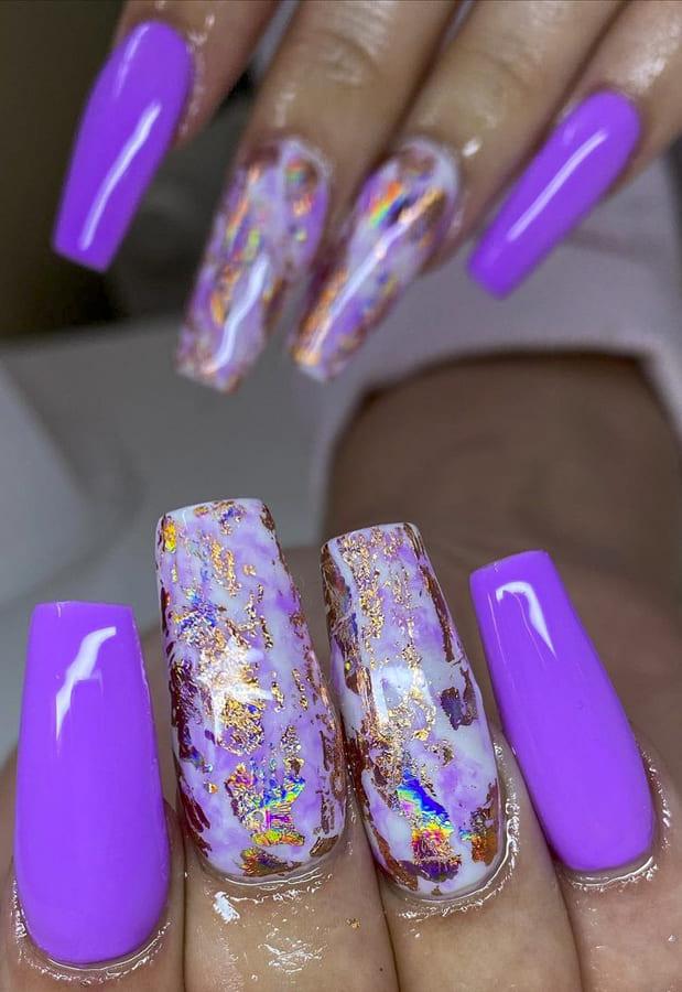 Dark purple acrylic nails