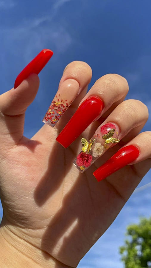 Red acrylic nails Designs