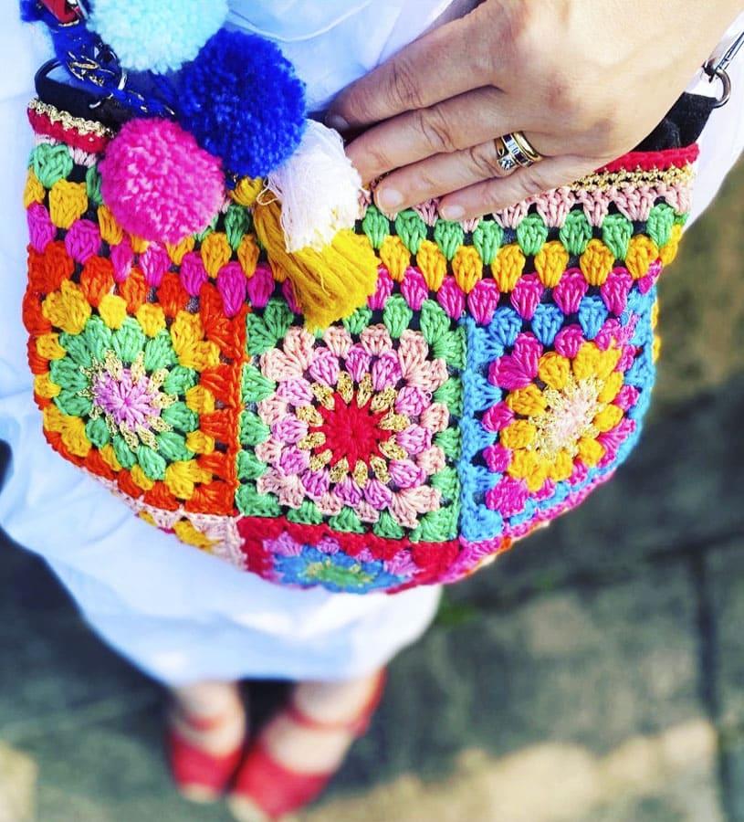 Pink Granny Square Crochet Bags (1)