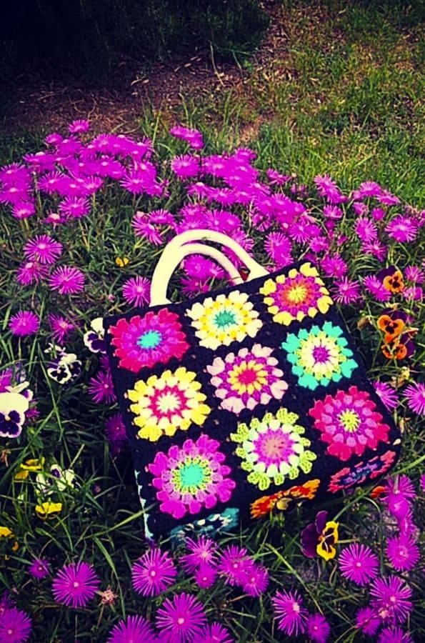 Pink Granny Square Crochet Bags (2)