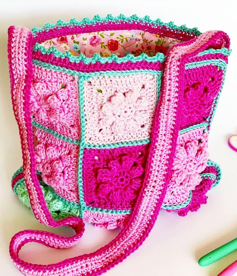 Pink Granny Square Crochet Bags (3)
