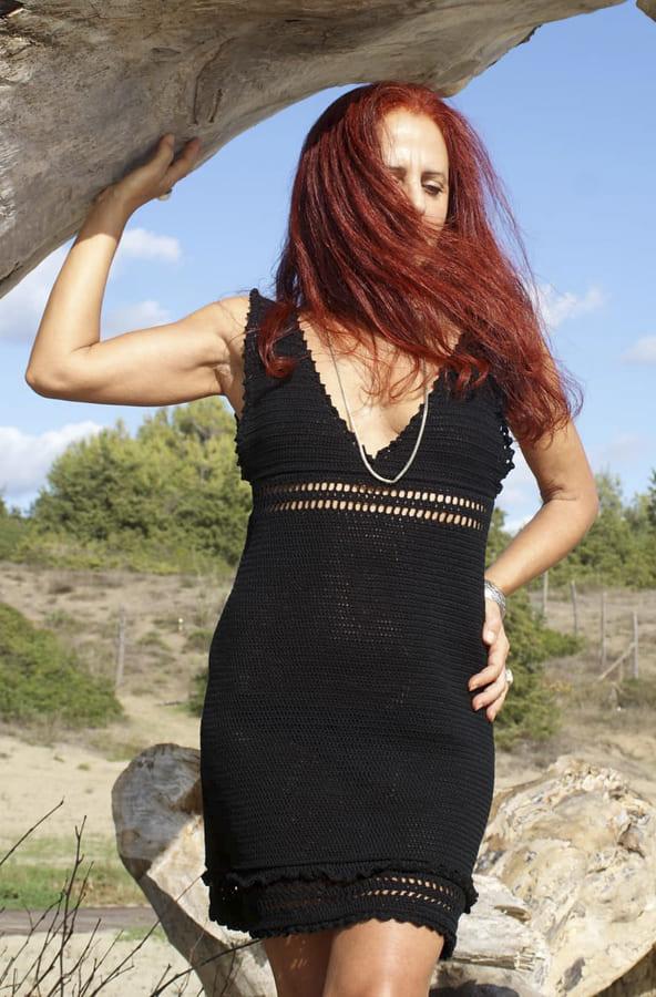 black crochet dress