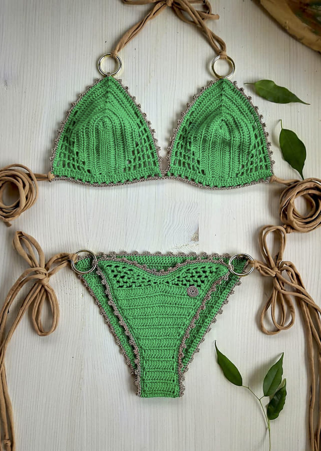 green crochet bikini