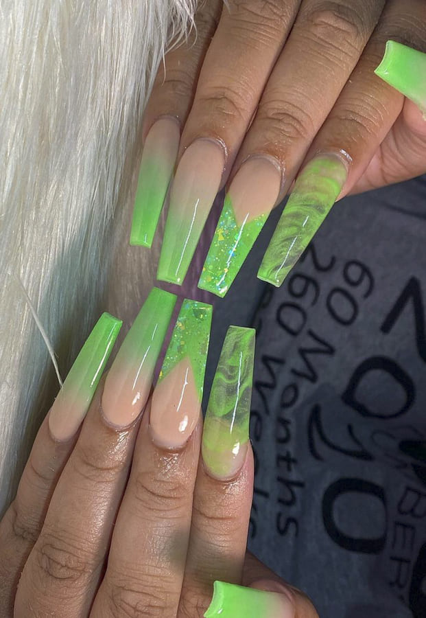 green ombre nails (1)