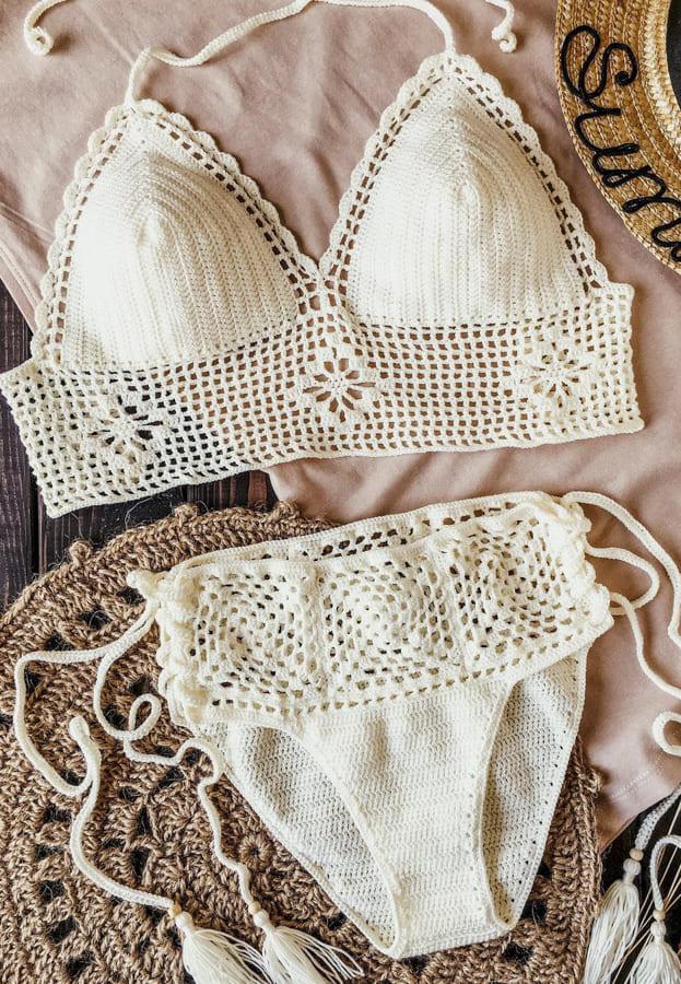 high waisted crochet bikini