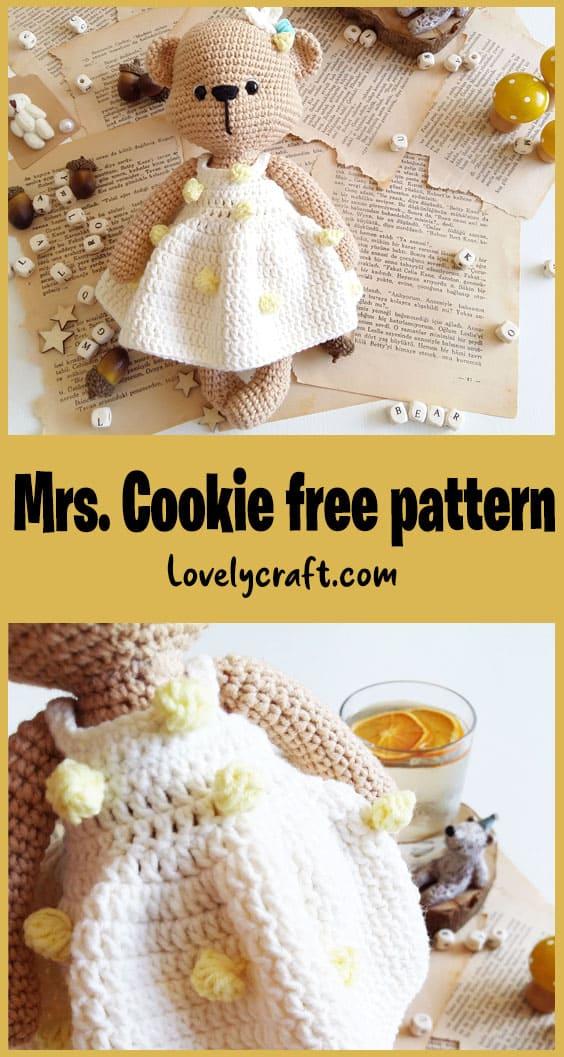Mrs Cookie amigurumi teddy bear free crochet pattern