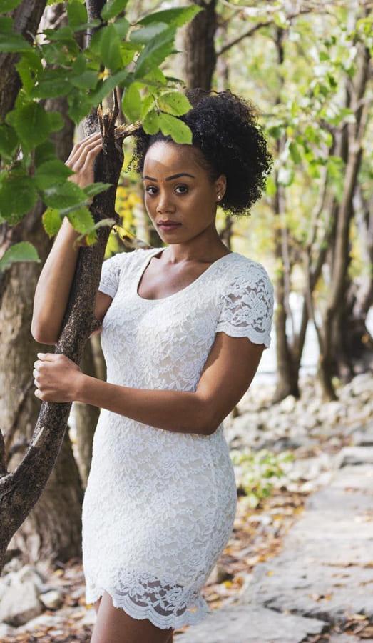 white lace crochet dress