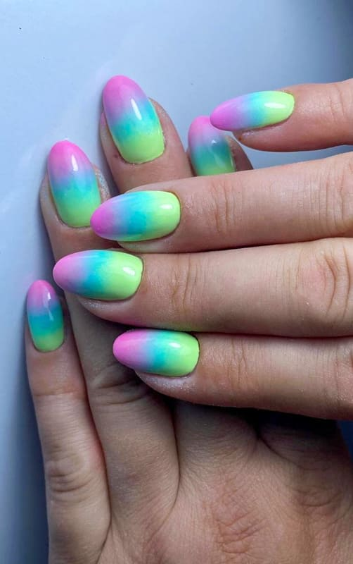Almond colorful ombre nails