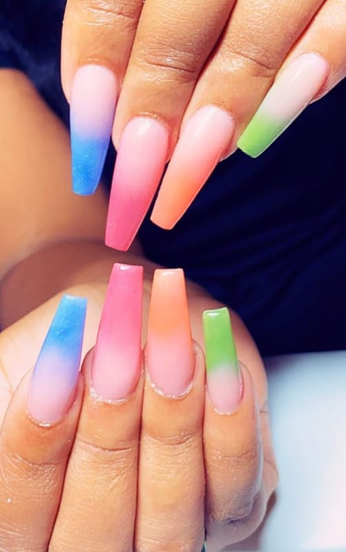 Coffin colorful ombre nails
