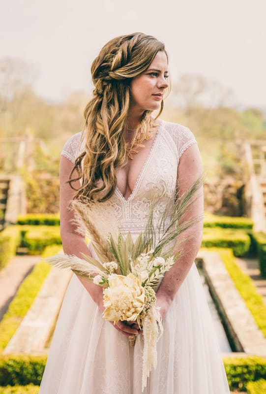 Curly and braided long wedding hair