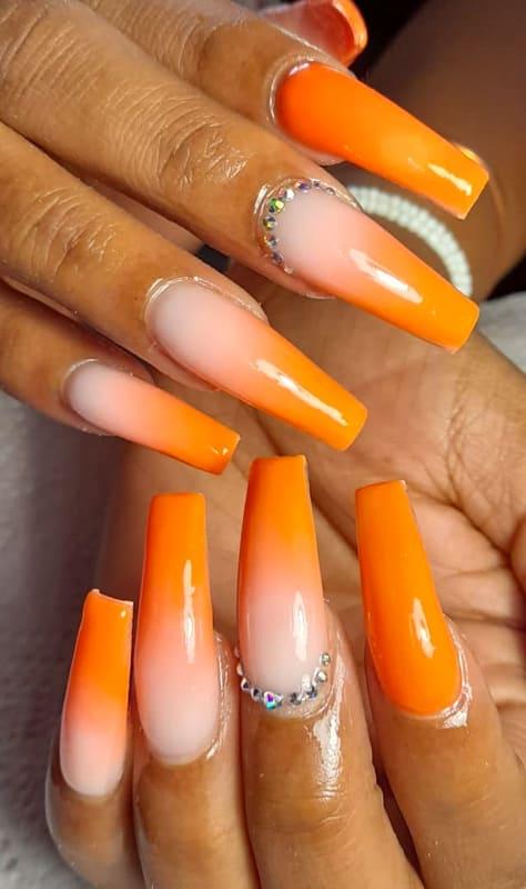 Easy orange ombre nails