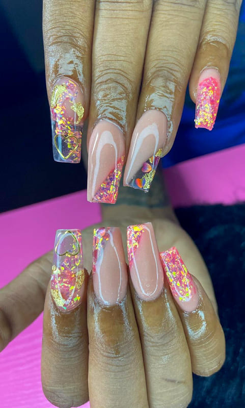 Glitter long coffin ombre nails