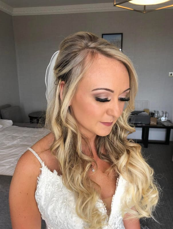 Haalf up half down curly wedding hair