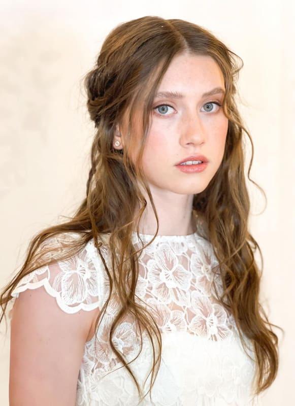 Half up half down long wedding hair