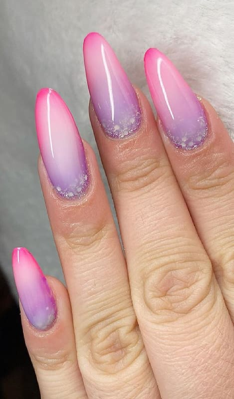 Long almond pink ombre nails