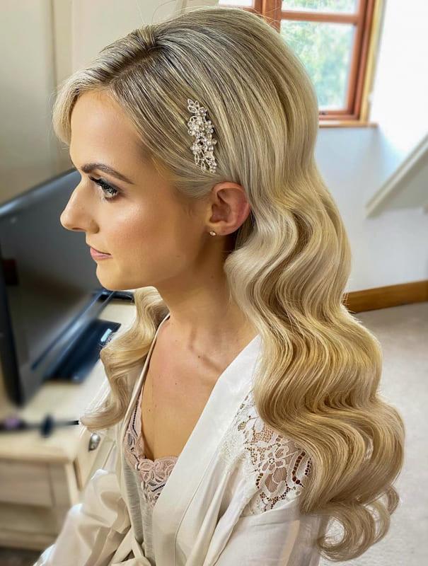 Long and vintage wedding hair