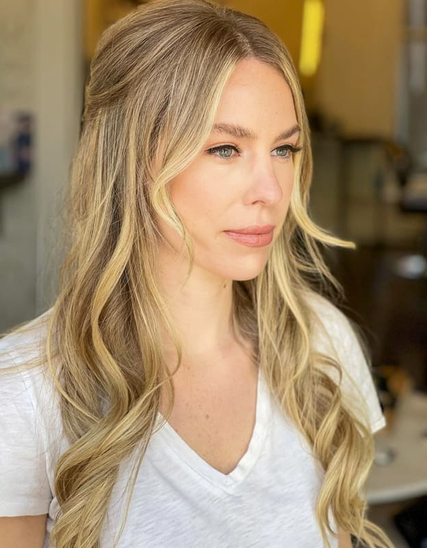Long blonde ombre wedding hairstyles