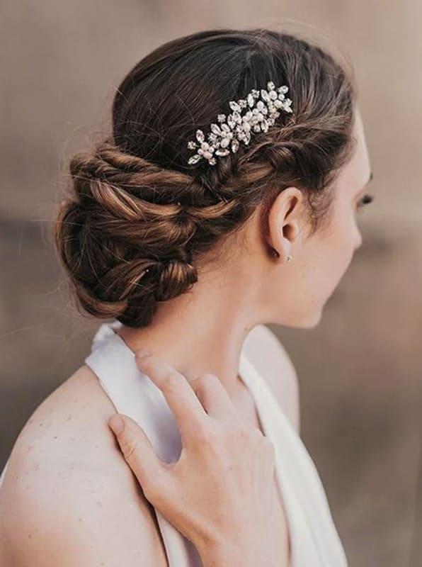Long braided wedding updo hair