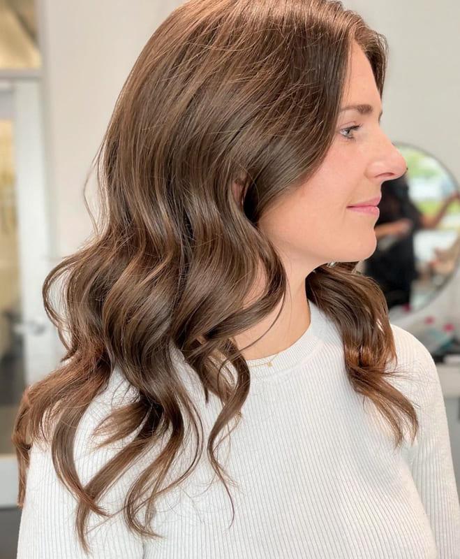 Long brown bridesmaid wedding hair