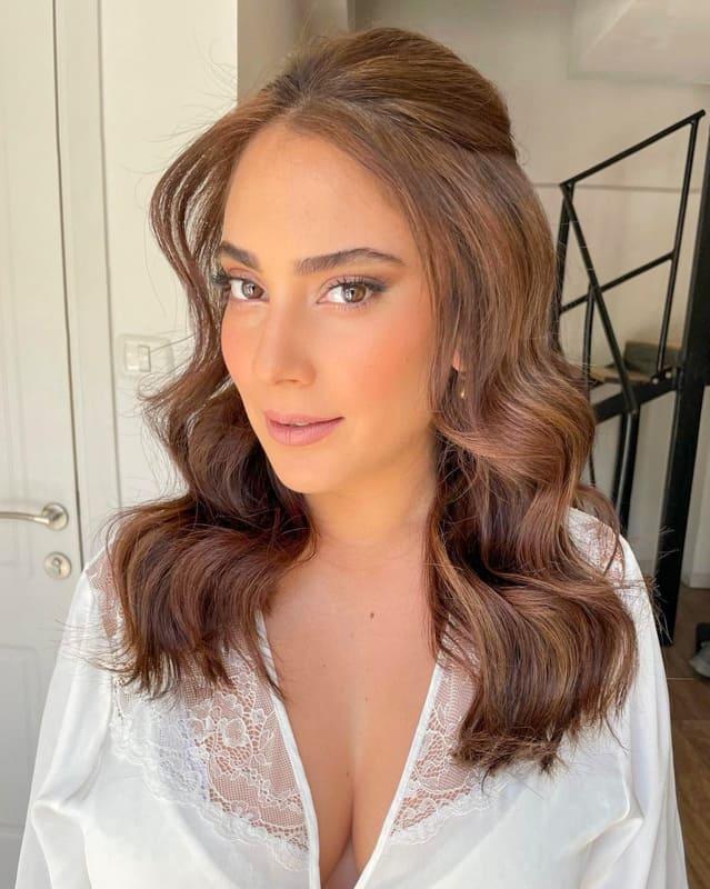Long brown wavy wedding hair