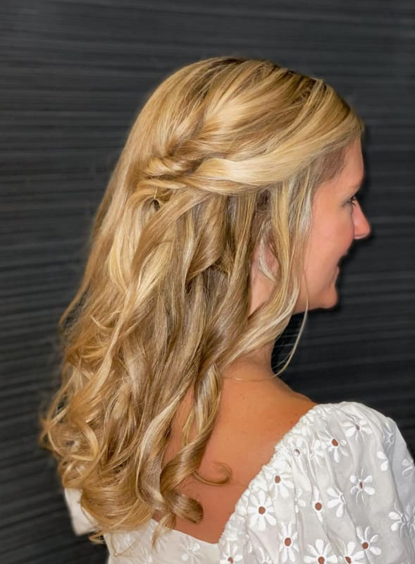 Long curly and side braided wedding hair