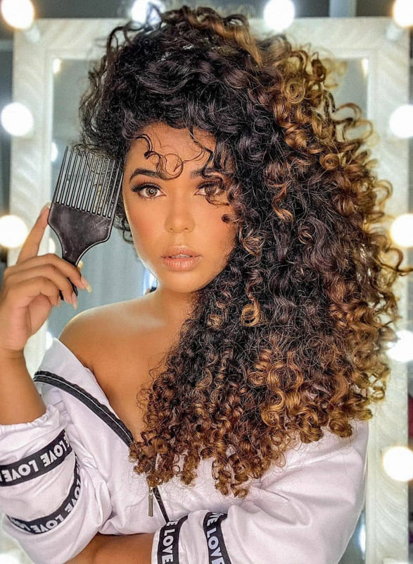 Long curly hair for ombre hairs