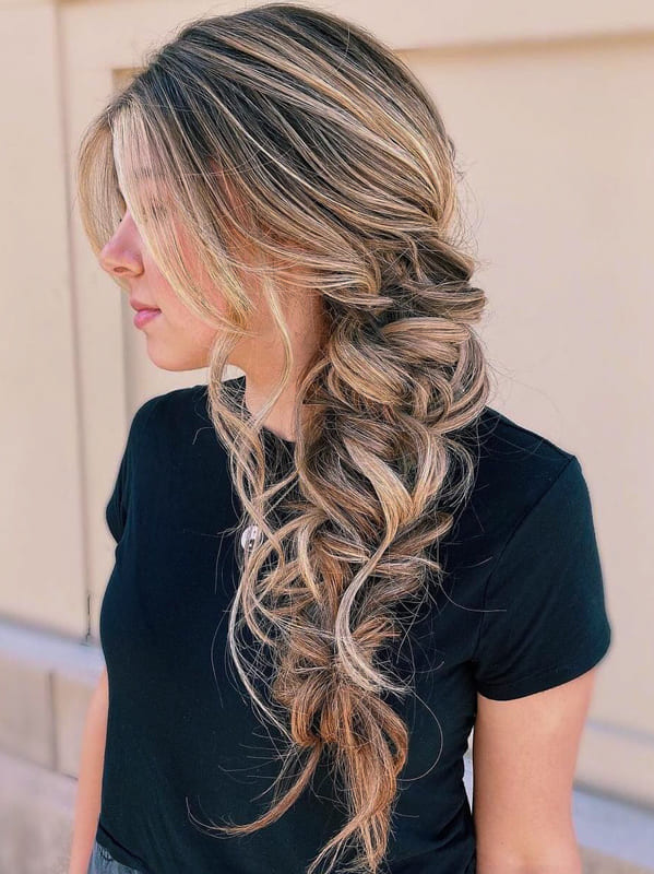 Long fishtail ombre wedding hairstyles