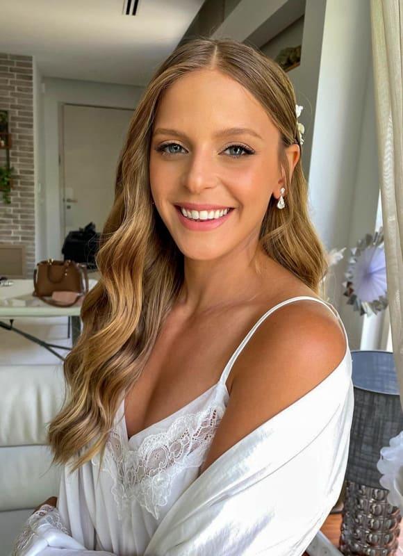 Long layered and wavy wedding hair